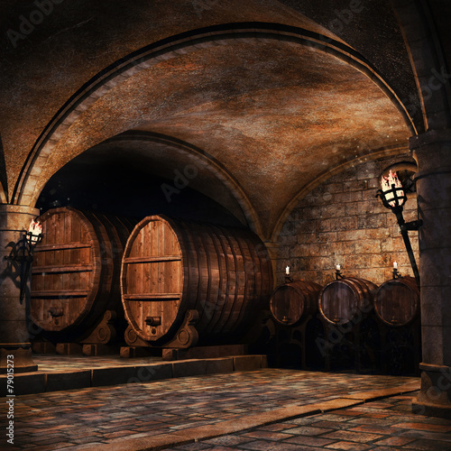 Fototapeta Piwnica na wino z beczkami