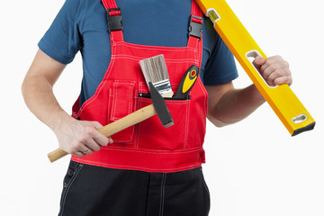 Unrecognizable construction worker in uniform
