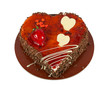 Heart shaped chocolate cake with cherry isolated on white