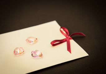 Card and glass hearts