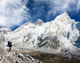 Mount Everest with beautiful sky and tourist