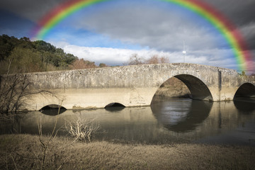 ancient Roman Bridge over Alviela River - Pombalinho, Portugal