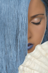 woman with straight blue hair, shells, closed eyes