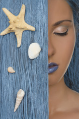 portrait of woman, blue hair and shells