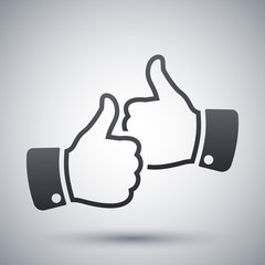 Hands with thumbs up icon, vector
