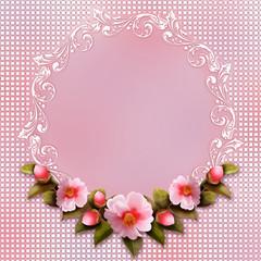 фон сиреневый с розовой камелией