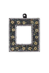 old picture frame with glass beads inlays, isolated on white