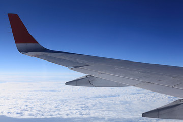 view from the airplane, wings sky