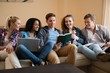 Students preparing for exams in apartment interior