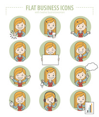 Set of flat business icons with businesswomen