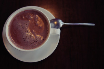 cup of hot cocoa autumn winter background cafe