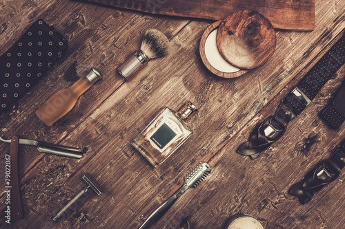 Shaving accessories on a luxury wooden background - 79022067