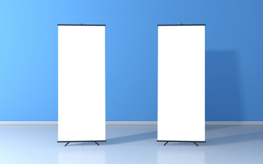 Set of two blank roll up posters - vertical billboard for text
