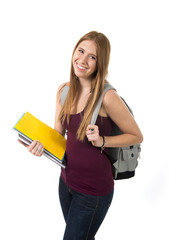 young beautiful college student girl carrying books backpack