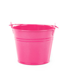Close up of pink bucket.