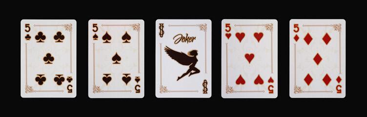 Spielkarten - Poker - Fünf  Vierlinge im Spiel