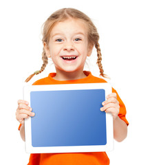 Happy child with tablet