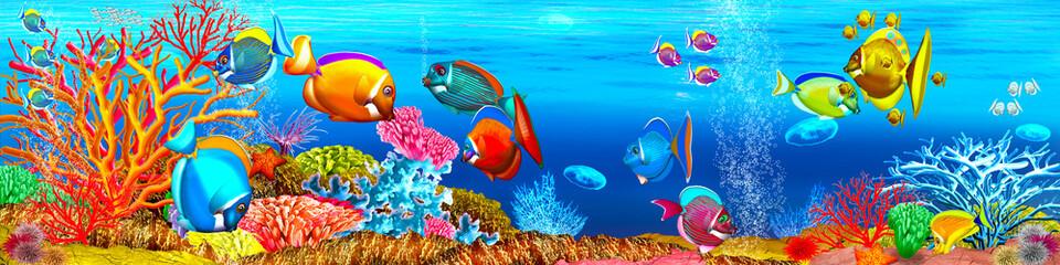 Aquarium mit Korallenriff, Korallenfische. Illustration