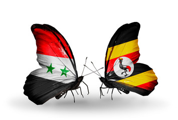 Two butterflies with flags Syria and Uganda