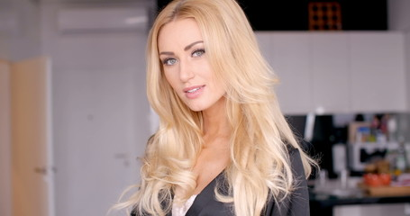 Young Woman Pretty Face with Long Blond Wavy Hair