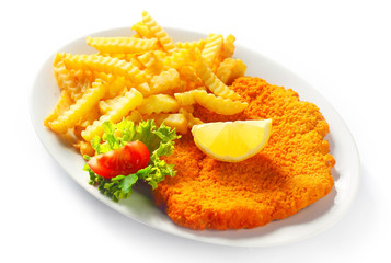 Main Entree - Crumbled Schnitzel with Crispy Fries