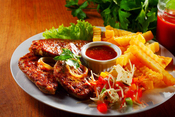 Tasty Main Dish with Grilled Meat and Potatoes