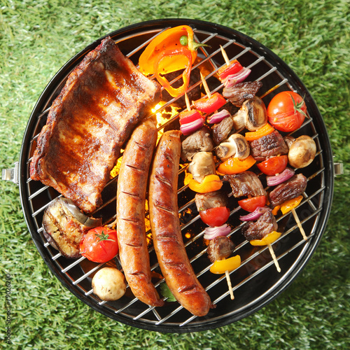 Tasty assortment of meat on a summer barbecue