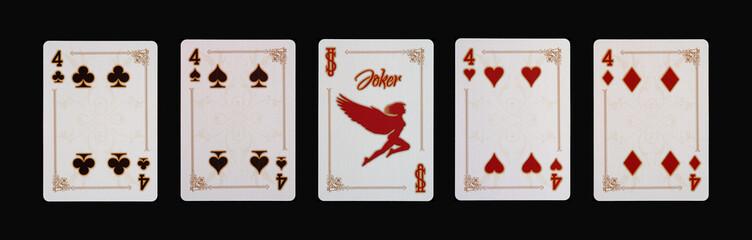 Spielkarten - Poker - Vier Vierlinge im Spiel