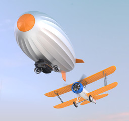 Airship and biplane flying in the sky