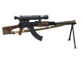 Kalashnikov AK assault rifle with optical sight isolated on whit