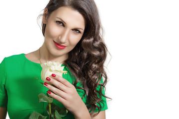 Портрет красивой женщины с розой