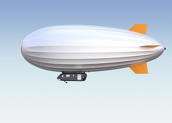 Side view of airship. Clipping path available.