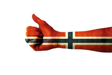Main avec pouce levé, drapeau Norvège