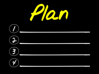 Plan blank list, business concept
