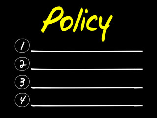 Policy Blank List, vector concept background