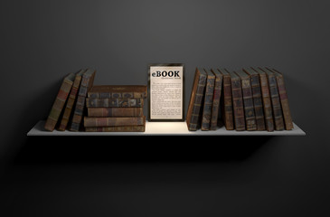 Tablet/ebook among books on shelf. Evolution of technology.
