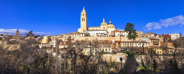 panorama of old Segovia, Spain