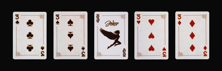 Spielkarten - Poker - Drei Vierlinge im Spiel