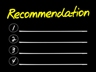 Recommendation Blank List, business concept
