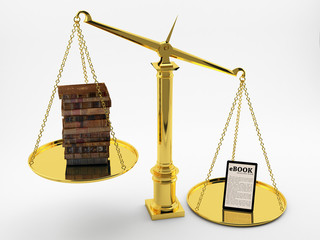 Books and e-book on the scales of justice.