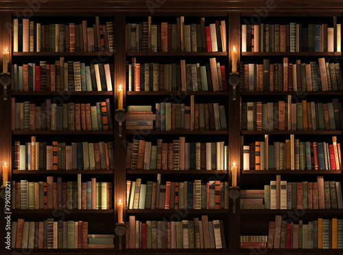 Bookshelf. Seamless texture (vertically and horizontally) - 79028221