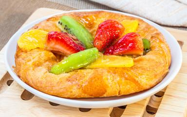 danish mixed fruit pie on dish