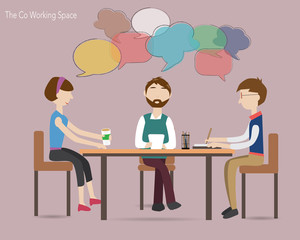 Three people meeting in the co working space