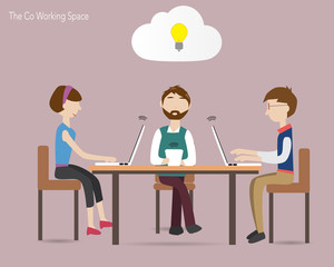 Three people in coworking space  and cloud concept