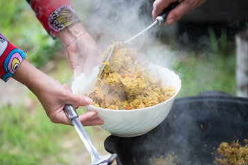 Pilaf, cooked outdoors
