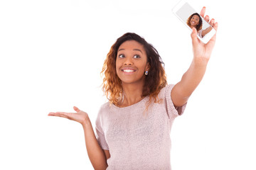 Young African American woman taking a selfie - self portrait - B