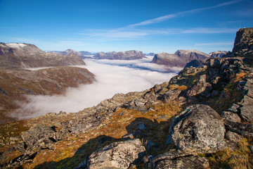 View from Dalsnibba mountain to clouds over Geiranger Norway