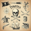 collection of hand-drawn pirates design elements - 79029266