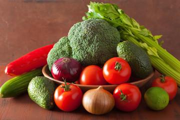 healthy vegetables tomato avocado onion broccoli cucumber celery