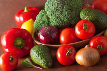 healthy vegetables tomato avocado onion broccoli cucumber